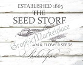 Seed Store Vegetable Farm Garden Instant Download Shabby French Transfer Burlap digital graphic printable No. 471