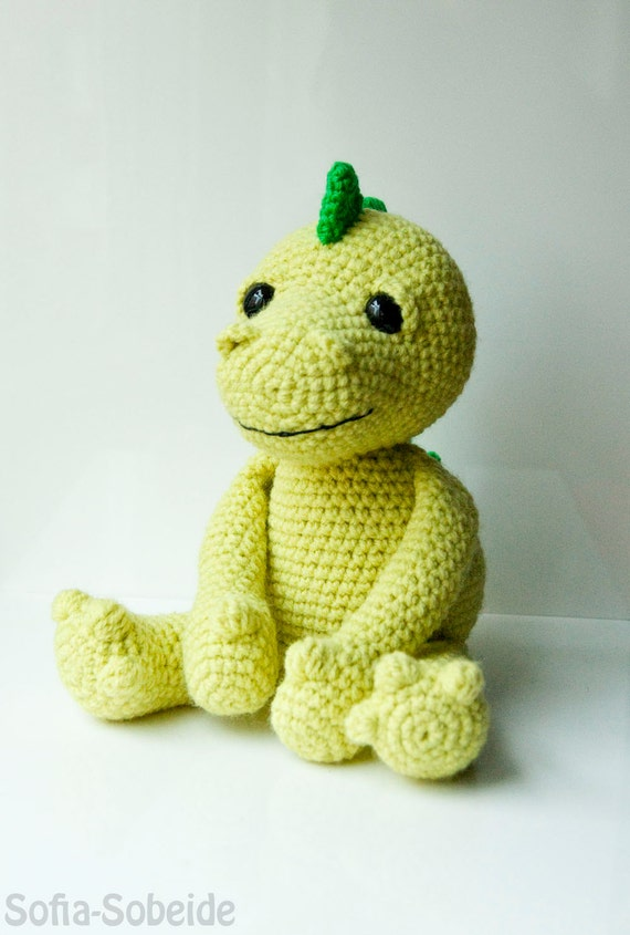Cute Dragon Amigurumi Pattern : Items similar to amigurumi dragon dinosaur pattern
