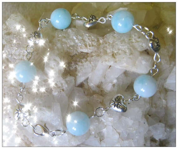 Handmade Silver Bracelet with Amazonite & Hearts by IreneDesign2011