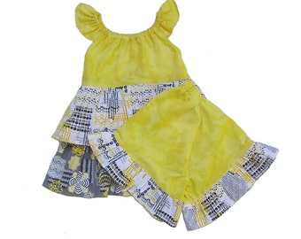 Girls 3 4 short shirt set pageant outfit, yellow gray black ruffle outfit