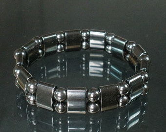 Natural Hematite Magnet Therap Health Hygienical Beads Stretchy Bracelet EG24