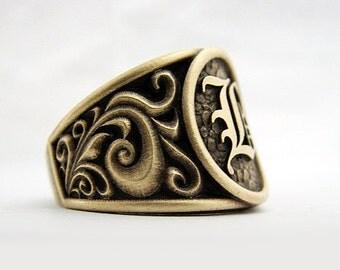Handmade Mens Ring Alternative Jewelry Gents 14k Yellow
