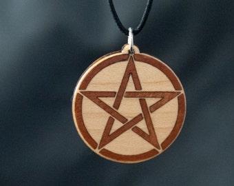 Maple Pentacle Wood Inlay Pendant