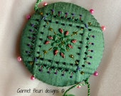 Embroidered Pin Wheel - Pincushion - Hand Embroidery - Needlework Accessory - Australian Seller