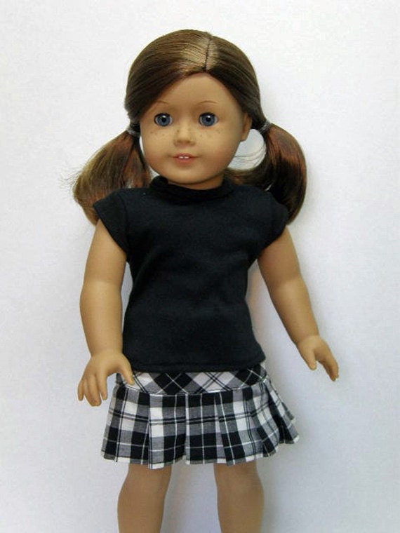 American Girl Doll Clothes - black t shirt with a pleated skirt - 18 inch doll clothes