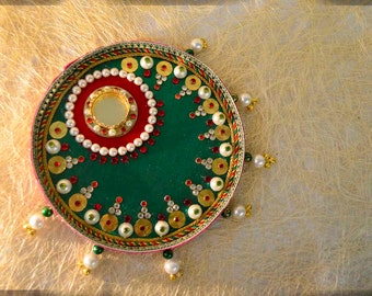 Popular items for aarti thali on etsy for Aarti dish decoration
