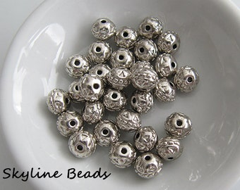 Tibetan Style Beads, Antique Silver, 8mm x 7mm, 1.5mm hole
