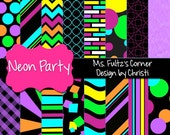 Neon Party Digital Paper Backgrounds for Personal and Commercial Use: Pink, Blue, Green, Yellow, Orange, Purple