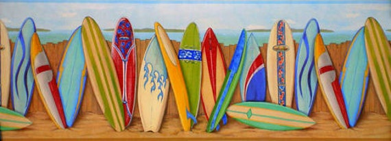Art culos similares a tablas de surf wallpaper frontera - Tabla surf decoracion ...