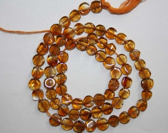 Natural AAA Quality Citrine 4 to 5mm Smooth Coin 13 inches long Strand CN527