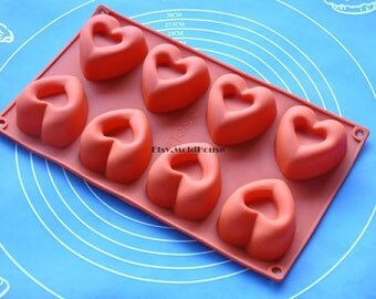 Big Hearts Flexible Silicone Mold Cake Mold Chocolate Mold Cookie Mold Icing Mold Polymer Clay Mold Resin Mold Soap Mold