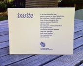 Invite, a letterpress poetry card and envelope