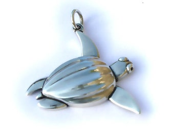 Sea turtle necklace , silver and sapphire Leather Back turtle pendant.
