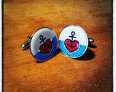 anchor heart cufflinks