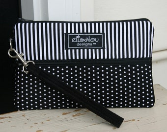 Padded Wristlet Mini Purse- Stripes and Polka Dots