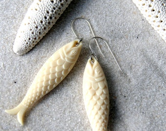 Fish Earrings - Ivory Fish Earrings - Nautical Fashion - gift for Pisces