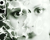 Melted Down - FREE SHIPPING - Face Burnt Plastic Melting Black White Gray Smoke Surreal Creepy Girl Eyes Portrait Photo Art