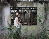 The Queen of Nothing - FREE SHIPPING - Print Girl Abandoned House Nature Gold Crown White Gray Concrete Weeds Overgrown Alone Green Cream