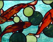 Koi Pond Lily Pads Stained Glass Window Panel