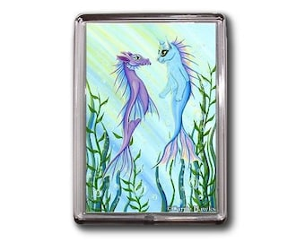 Mermaid Cat Magnet Sea Dragon Mercat Fantasy Cat Art Framed Magnet Cat Lovers Gifts