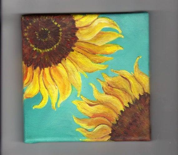 Original Sunflowers on Turquoise Painting on Canvas