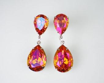 Rhinestone Earrings Astral Pink Swarovski Dangle Earrings Pink Orange Coral Wedding Bridesmaid Jewelry