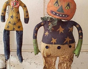 Primitive Halloween Pattern EPattern PDF Black Cat Pumpkin  JOL Doll  Folk Art by Hickety Pickety -100