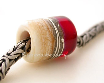 CHERRY RED IVORY Fine silver glossy European Charm Lampwork Glass Bead - taneres