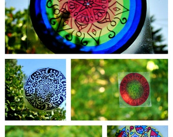 BRIGHT Mandala Window Decal - Psychedelic Geometric Art - Choose Your Design from Bright Collection