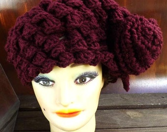 Crochet Hat Womens Hat, Crochet Shell Stitch, Crochet Beret Hat, Crochet Flower, Aubergine Hat, KAREN Beret Hat
