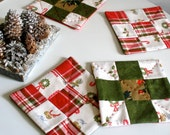Holiday Tea Mats / Coasters / Set of 4 / Quilted Plaid Patchwork