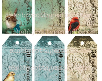 INSTANT DOWNLOAD DIGITAL Tags Collage Sheet Paris Bird Tags