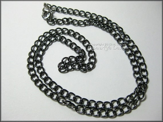 """18"""" Gunmetal Link Chain Necklace (Or 20"""" 22"""" 24"""" lengths available)"""