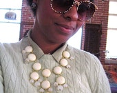 Statement Necklace - Cream Off White Bubble Necklace - brass tone - Bauble