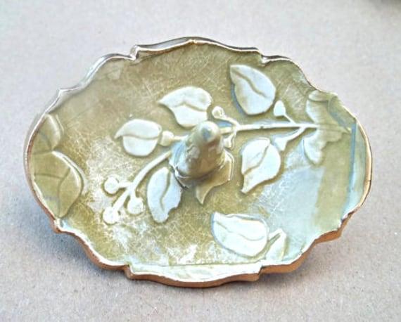 Sage Mustard Damask Ceramic Ring Holder