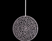 Reticulate - stainless steel pendant, intricate circular leaf network nature science organic jewelry