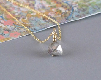 Tiny Pyrite Pyramid Necklace Gold or Sterling Silver Chain DJStrang Fools Gold Charm Bead Boho Minimalist