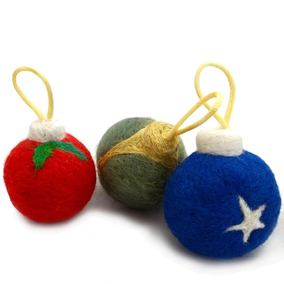 Wool Catnip Toy Cat Christmas Tree Ornament Felted