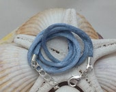 Grey Blue Satin Cord Necklace for Fused Glass Jewelry