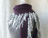 After Midnight Fringe Scarf - Plum, Black, Gray and White. Limited Edition.