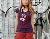 SALE - Yoga top, graphic tee for women, womans tops tshirts, silkscreen womens t-shirt, purple tshirt, paisley lotus design, S-XL