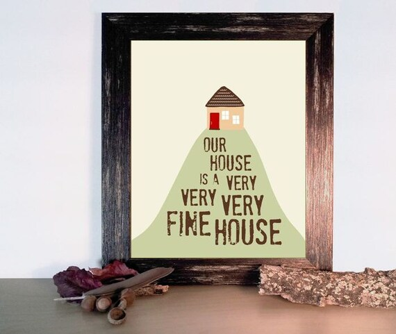 Housewarming Gift Home Decor - Very Fine House Art Print - Kitchen Art, House on a Hill 8 x 10 - Tan and Brown