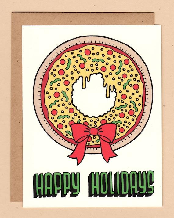 Pizza Wreath Holiday Card