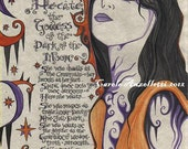 Hecate the Goddess of the Dark of the Moon Parchment Art Print 8.5 x 11 LIMITED EDITION