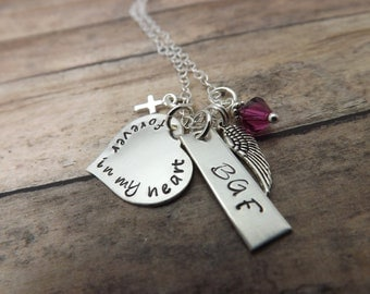 Handstamped jewelry-personalized necklace- Remembrance necklace-until we meet again-sterling silver-birthstone-personalized jewelry