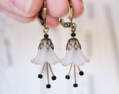 Vintage Style Antiqued Brass Frosted White Flower Earrings