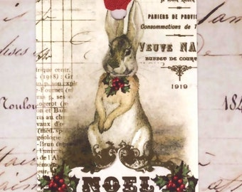 Christmas Gift Tags , French Rabbit , Noel Tags  by Bluebird Lane
