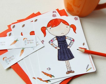 Clara Notecards - Set of six postcards with stickers - Quirky Stationery
