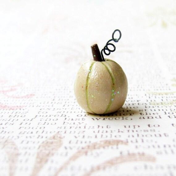 reserved- miniature white pumpkin- sparkly clay art sculpture- wedding, autumn, halloween, thanksgiving, fairytale, nursery decor