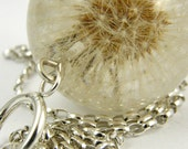Dandelion Necklace, Large Resin Round with Full Dandelion and Sterling Silver Chain, Dandelion Jewelry